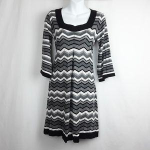 AGB Black, White and Gray Chevron Dress